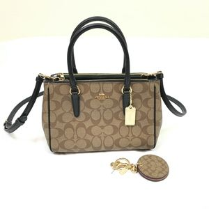 Coach Surrey Signature Handbag in Khaki/Black NWT